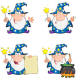 Wizard Waving With Magic Wand Collection vector image