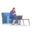 woman working from home or office with coffee vector image