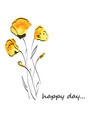 yellow water color flower for happy day vector image vector image