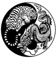 yin yang dragon and tiger black white vector image vector image