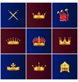 royal gold medieval attributes set vector image