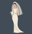 a bride in a wedding dress vector image