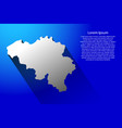 abstract map of belgium with long shadow on blue vector image vector image
