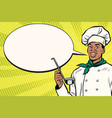 african chef with ladle cartoon bubble vector image