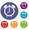 alarm clock icons set vector image vector image