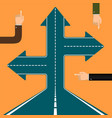 arrows on the road vector image