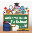 back to school chalkboard with education tools vector image