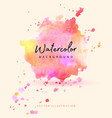 beautiful splash watercolor in pink vector image vector image