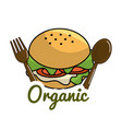 burger icon with spoon and fork organic concept vector image vector image