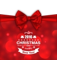 Christmas Card with Bow Ribbon vector image