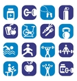 color bodybuilding icons set vector image vector image