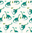 cute cartoon diplodocus pattern for kids textile vector image