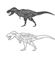 Dinosaurs with cut scheme on white background vector image vector image