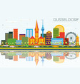 dusseldorf skyline with color buildings blue sky vector image vector image
