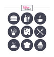 food drink icons coffee and hamburger signs vector image vector image