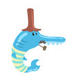 funny cartoon blue fish with long nose and vector image vector image