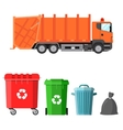 Garbage truck and four variants of dumpsters vector image vector image