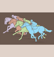 group jockeys riding horse sport vector image vector image