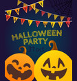 happy halloween garlands on dark background vector image vector image