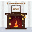 happy new year 2020 christmas fireplace on the vector image vector image