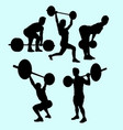 heavy lifting and fitness male and female silhouet vector image
