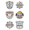 house repair service vintage badges with tools vector image vector image