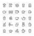 icon set - coffee and tea outline stroke vector image vector image
