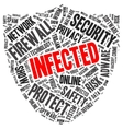 Infected word cloud in a shape of shield vector image vector image