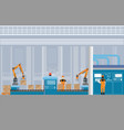manufacturing warehouse conveyor with workers vector image vector image
