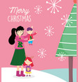 merry christmas mom and kids with trees snowflakes vector image