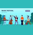 music festival banner musicians and instruments vector image
