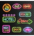 Neon Open Sign Set vector image vector image
