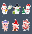 new year and christmas card a set sticker of vector image vector image