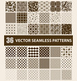 pack of 36 retro styled brown seamless patterns vector image vector image