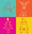 pop art christmas elements outline vector image vector image