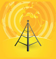 radio tower transmitter and world map vector image