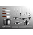 realistic kitchen utensil collection vector image vector image