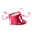red pink opened 3d realistic round gift box vector image vector image