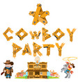 rodeo cowboy party saloon set of of on the theme vector image