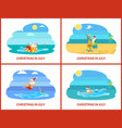 santa christmas relaxing on water and beach vector image vector image