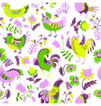 Seamless pattern with roosters vector image