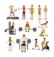 set of people in gym characters isolated on vector image vector image