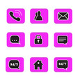 set of web button icons contact symbol collection vector image vector image