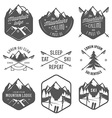 set vintage skiing labels and design elements vector image vector image