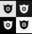 shield with gear icon isolated on black white and vector image vector image