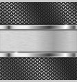 stainless steel plate on perforated background vector image vector image