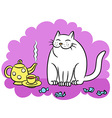 tea with the white cat vector image vector image