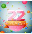Twenty two years anniversary celebration vector image vector image
