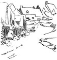 winter landscape sketch village with house and vector image vector image
