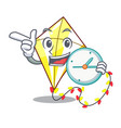with clock kite small the cartoon on table vector image
